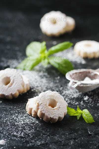 Homemade sweet cookies with mint