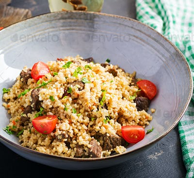 Bulgur pilaf with meat and and vegetables.