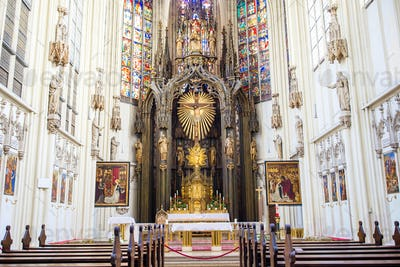 Interior view of Maria am Gestade church in Vienna
