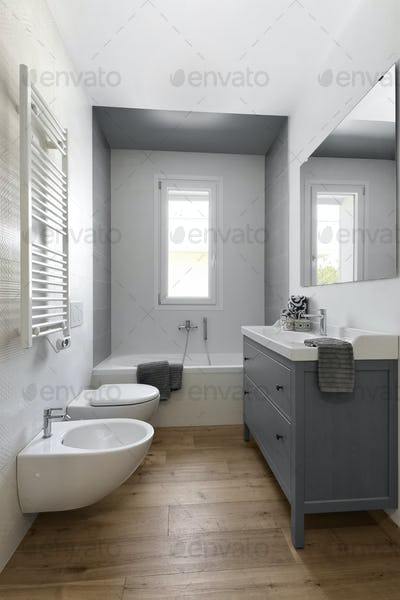Interiors of a Modern Bathroom With Wood Floor