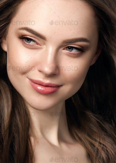 Beauty long hair woman curly hairstyle natural makeup