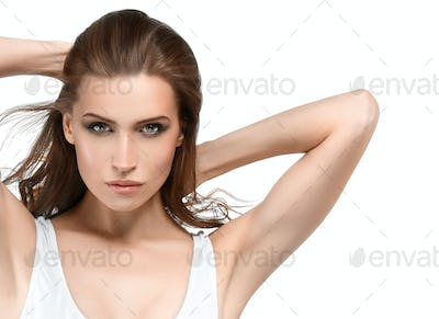 Young woman beauty skin and beautiful hairstyle isolated