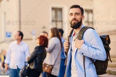 The stylish bearded male