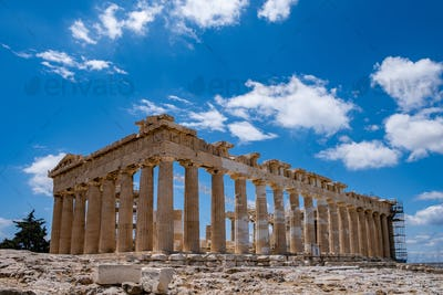 Athens, Greece. Parthenon temple on Acropolis hill, blue sky background