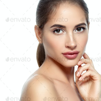 Nice  young woman natural make up classic beauty portrait