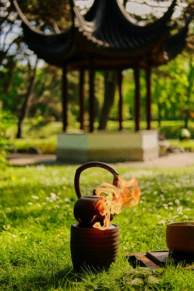 Chinese tea ceremony in a park.
