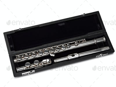 Flute in box Isolated on White