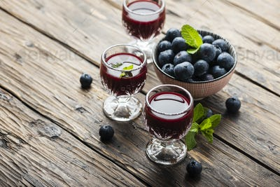 Sweet blueberry liqueur