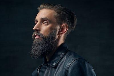 Close up portrait of bearded man.