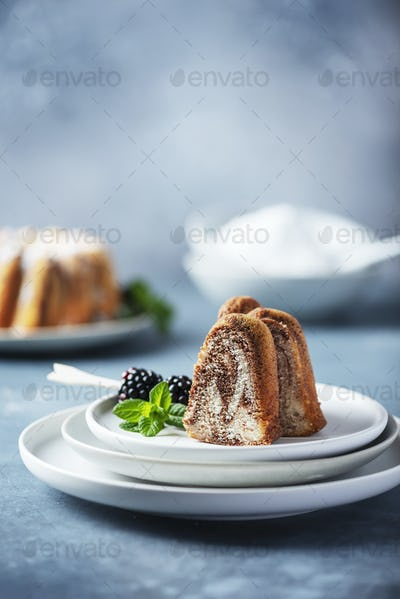 Homemade marble cake