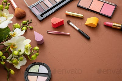 Make up natural cosmetics against brown color background