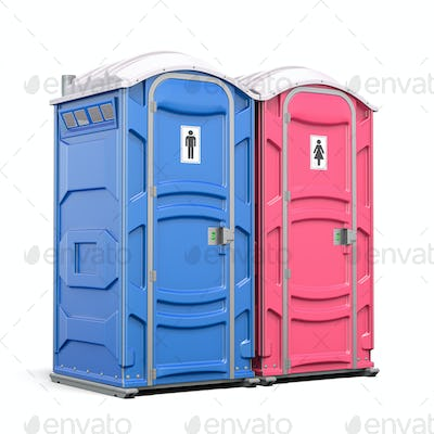 Portable plastic toilet or public facilities for using in public places isolated on white