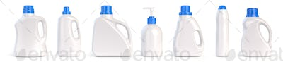Set of detergent plastic bottles with chemical cleaning product isolated on white background.