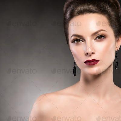 Beautiful hairstyle woman beauty makeup red lipstick
