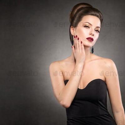 Glamour evening beauty classic black dress woman portrait