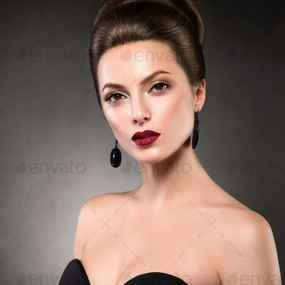 Beautiful glamour hairstyle woman beauty hair fashion makeup red lipstick
