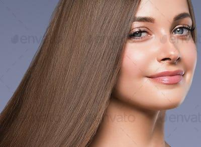 Brunette woman model healthy skin beautiful grey eyes