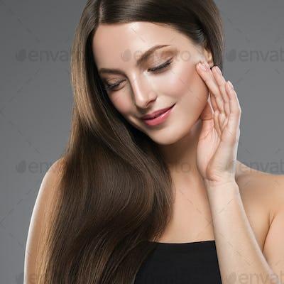 Healthy skin long brunette hair young model