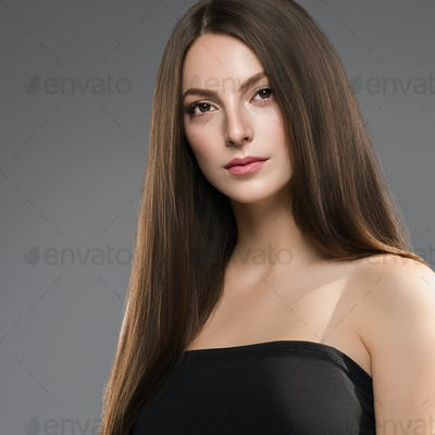 Brunette woman natural make beautiful eyes woman face