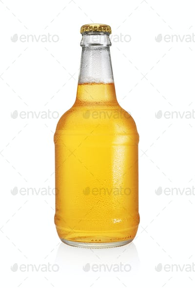 Beer bottle with water drops isolated on white background.