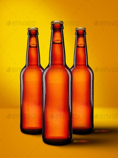 Beer bottles with long neck on yellow background mockup