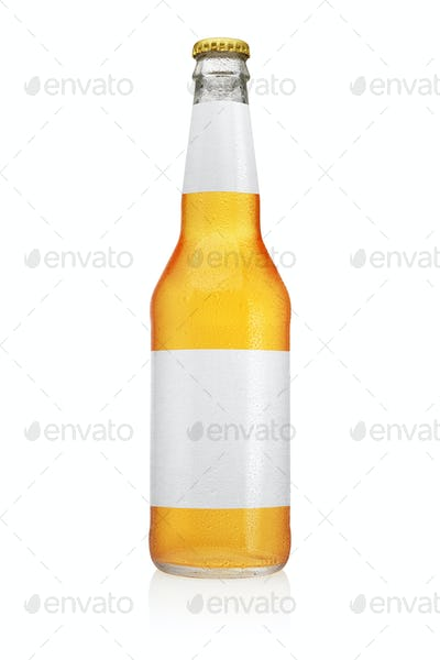 Longneck Beer bottle with water drops isolated on white.