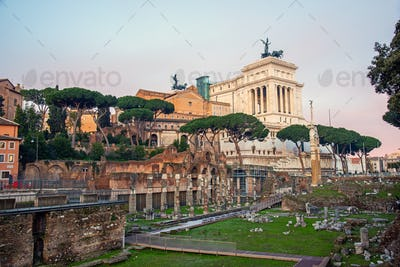 The famous ruins of the Roman Forum  and the Victor Emmanuel II National Monument in Rome