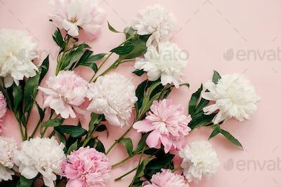 Stylish peonies bouquet flat lay