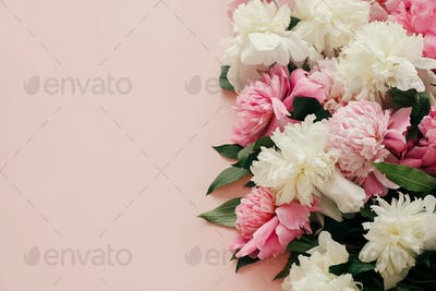 Pink and white peonies on pastel pink paper