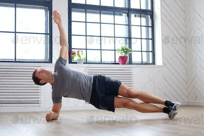 A man doing abs workouts.