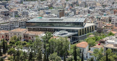 Acropolis museum aerial birds eye view, Athens, Greece