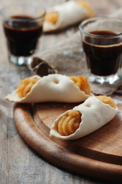 Traditional italian cookie with coffee