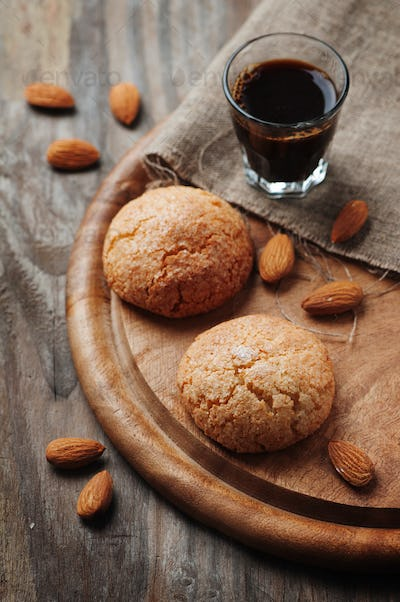 Italian cookie amaretti with almond