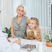 Family visiting pediatrician