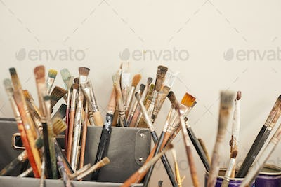 Collection of Artists Brushes in Workshop