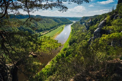 Germany. View from the Bastei rock formation down the Elbe river. Visiting Saxon Switzerland
