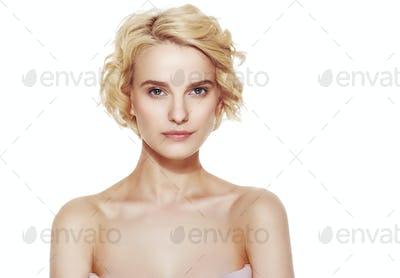 Short curly hair woman beauty face portrait
