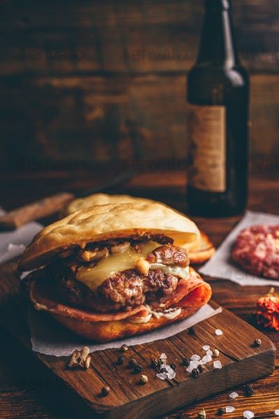 Cheeseburger on Cutting Board