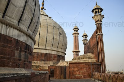 Exterior view of Jama Masjid mosque in Delhi, India.