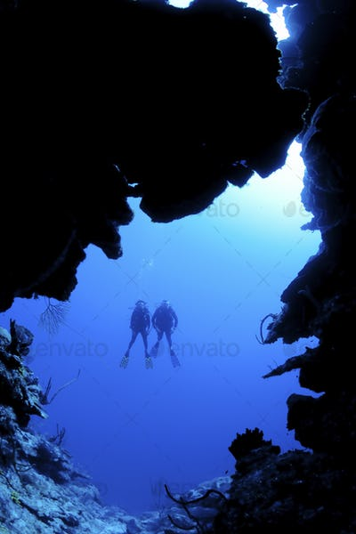 Scuba diving along North Wall, Grand CaymanDive site known as Mainstreet