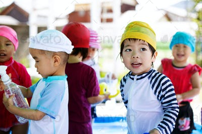 Group of young children in a Japanese preschool.