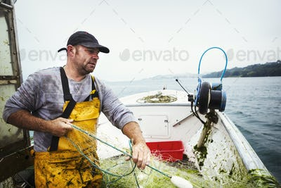 A fisherman on a boat hauling in the fishing net.