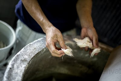 Man's hands separating pieces of vegetable fibres to make traditional Washi paper.