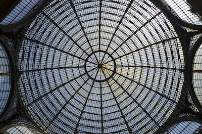 Glass dome of the Galleria Umberto I shopping centre in Naples, Italy.