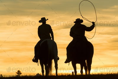 Two cowboys riding on horseback in a Prairie landscape at sunset, one swinging lasso.