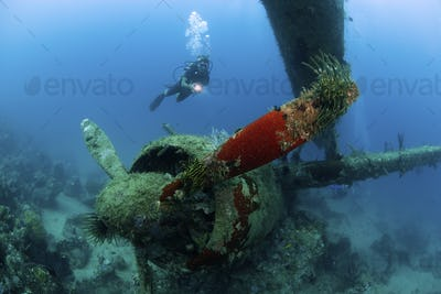 A diver holding an underwater light approaches the wreck of a military plane on the seabed, dating
