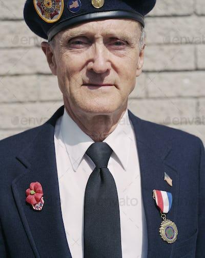 Portrait of elderly Korean War veteran
