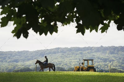 Silhouette of a rider on a horse and a tractor in a field.