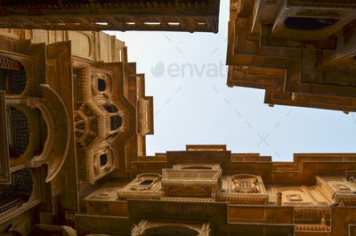 View up from the ground inside a historic fortified building in Jaisalmer. Traditional architecture,