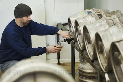Man drawing some beer from a metal keg in a brewery for testing.